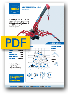 UNIC 094 Spider Crane product specification
