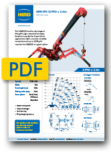 UNIC 095 Spider Crane product specification
