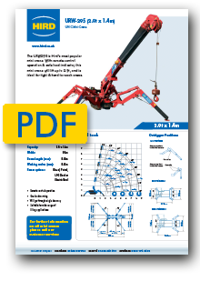 UNIC 295 Spider Crane product specification