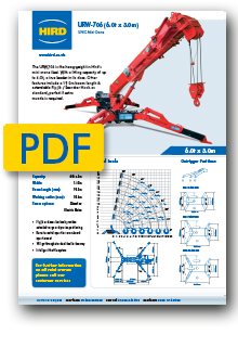 UNIC 706 Spider Crane product specification