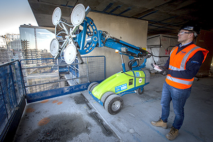 Hird glass lifting Winlet on site at Battersea Power Station with operator Danny Mills