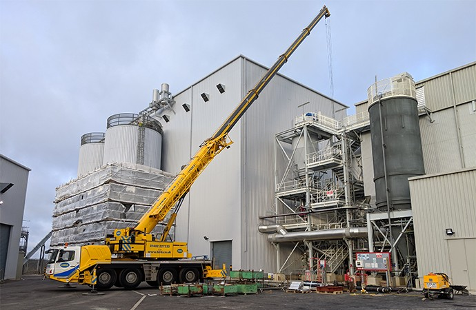 Crane and powered access lift for biomass energy plant | Hird