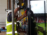Sky box glass installation - Hird Contract Lift