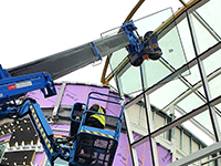 Maeda mini crane and glazing manipulator support hospital build